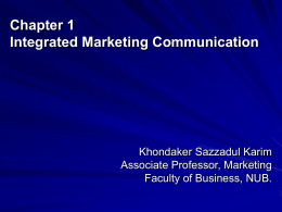 Chapter 1 Integrated Marketing Communication