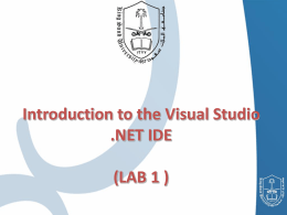 Introduction to the Visual Studio .NET IDE