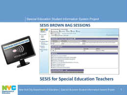 SESIS for Special Education Teachers
