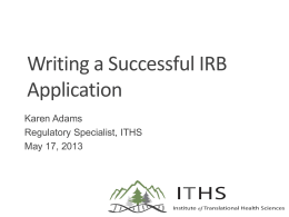 Writing an IRB Application