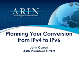 Planning Your Conversion from IPv4 to IPv6