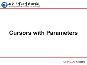 Cursors with Parameters