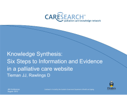 Knowledge synthesis: Six steps to information and