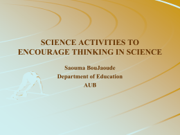 Developing critical thinking through science lab activities at the