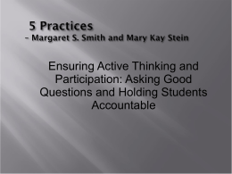 5 Practices – Margaret S. Smith and Mary Kay Stein
