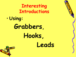 An interesting introduction with a grabber, hook, lead: