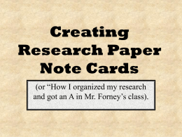Creating Research Paper Note Cards