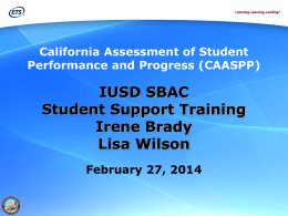 IUSD SBAC Student Support Training PPT