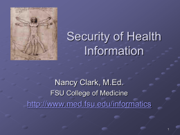 Security of Health Information