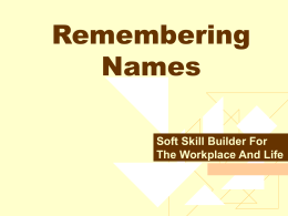 Remembering Names ppt