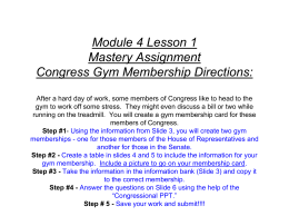 Unit 4 Mastery Assignment Congress Gym Membership Directions: