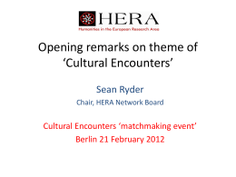 Characterising the HERA JRP Cultural Encounters theme
