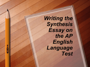 Writing a Synthesis Essay