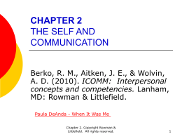 CHAPTER 2 THE SELF AND COMMUNICATION