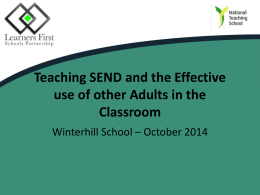SEND/ Using other adults effectively
