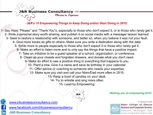 J&R`s 15 Empowering Things to Keep Doing and or Start Doing in