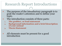 Research Report Introductions
