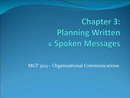 Chapter 4: planning written & spoken messages