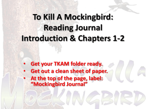 To Kill A Mockingbird: Reading Journal Introduction & Chapters 1