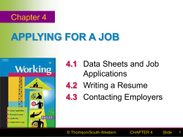 CHAPTER 4 APPLYING FOR A JOB