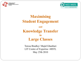 Maximising engagement and knowledge transfer in large classes