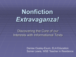Nonfiction Extravaganza - Southeast Education Alliance