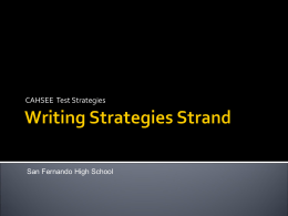 CahseeWritingStrategies - San Fernando Senior High School