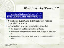 What is inquiry/research?