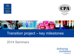 7 Transition project - key milestones