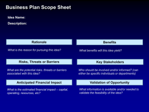 Business Plan Scope Sheet - Cleveland Clinic Academy