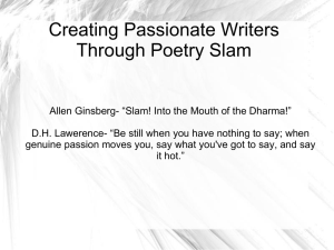 Poetry Slam Powerpoint - Morehead Writing Project