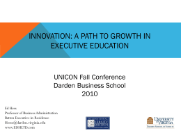 Innovation: The Path to Growth in Executive Education