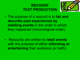 RECOUNT TEXT PRODUCTION