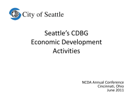 Seattle`s CDBG Economic Development Activities