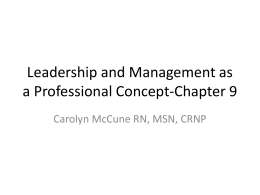 Leadership and Management as a Professional Concept