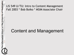 Content and Management
