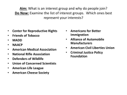Aim: What is the impact of Interest Groups on American Government?