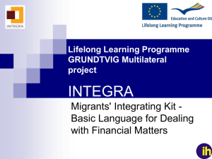 Lifelong Learning Programme GRUNDTVIG - integra