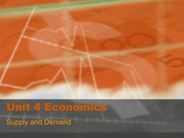 Unit 4 Supply and Demand Economics