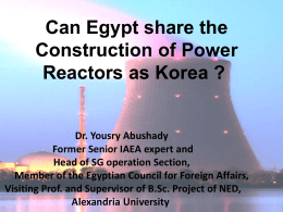 Dr. Yousry Abushady can Egypt share the construction of Power
