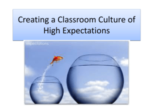 Creating a Classroom Culture of High Expectations