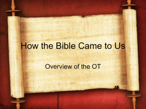 Lesson 3 - Overview of the Old Testament