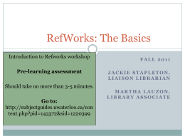 Refworksbasics20fall2011