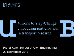 Visions to Step-Change: Embedding participation in transport research
