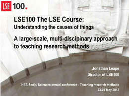 LSE100 The LSE Course: Understanding the causes of things A
