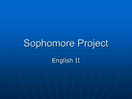 Sophomore Project