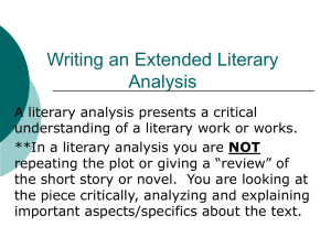 Writing an Extended Literary Analysis