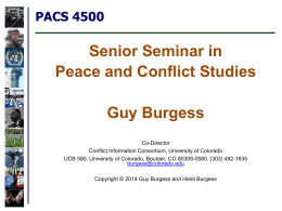 PPT Slides -- January 13 - Peace and Conflict Studies