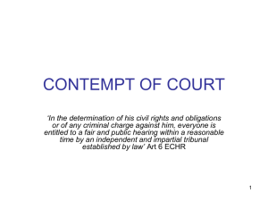 CONTEMPT OF COURT - Centre for Journalism