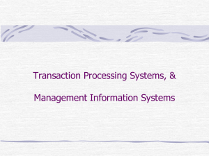Transaction Processing Systems, and Management Information